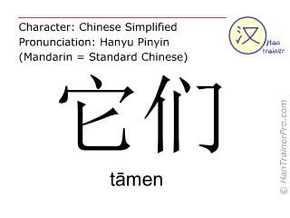 Chinesische Schriftzeichen  ( tamen / tāmen ) mit Aussprache (Deutsche Bedeutung: sie )