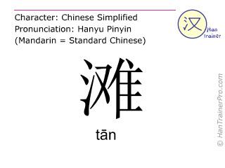 Chinesische Schriftzeichen  ( tan / tān ) mit Aussprache (Deutsche Bedeutung: Strand )