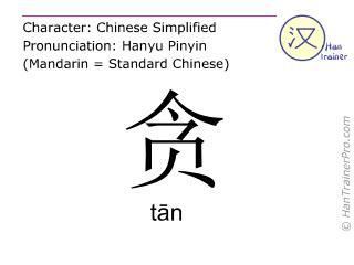 Chinesische Schriftzeichen  ( tan / tān ) mit Aussprache (Deutsche Bedeutung: bestechlich )
