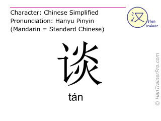 Chinese characters  ( tan / tán ) with pronunciation (English translation: to talk )