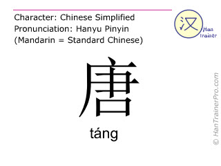 Chinese characters  ( tang / táng ) with pronunciation (English translation: the Tang Dynasty )