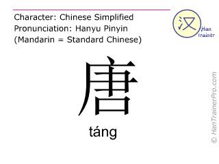 Chinesische Schriftzeichen  ( tang / táng ) mit Aussprache (Deutsche Bedeutung: Tang-Dynastie )