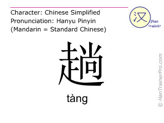 Chinese characters  ( tang / tàng ) with pronunciation (English translation: time )
