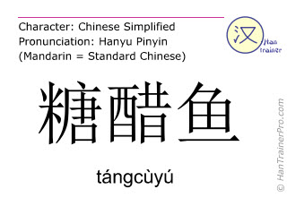 Chinese characters  ( tangcuyu / tángcùyú ) with pronunciation (English translation: sweet and sour fish )