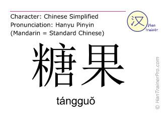 Chinesische Schriftzeichen  ( tangguo / tángguŏ ) mit Aussprache (Deutsche Bedeutung: Süßigkeiten )
