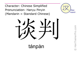 Chinese characters  ( tanpan / tánpàn ) with pronunciation (English translation: negotiation )