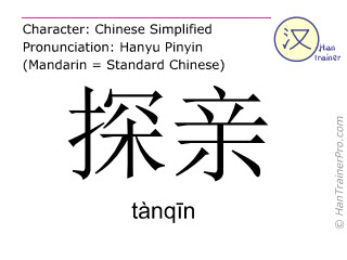Chinese characters  ( tanqin / tànqīn ) with pronunciation (English translation: to go home )