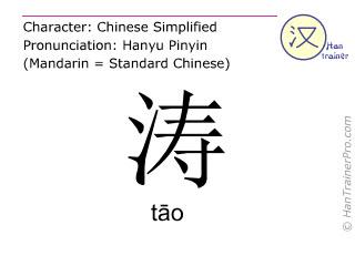 Chinesische Schriftzeichen  ( tao / tāo ) mit Aussprache (Deutsche Bedeutung: Woge )