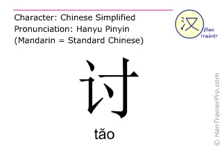 Chinese characters  ( tao / tăo ) with pronunciation (English translation: to demand )