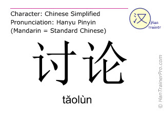 Chinese characters  ( taolun / tăolùn ) with pronunciation (English translation: to discuss )