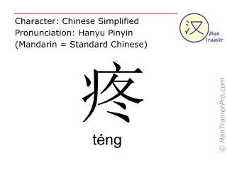 Caractère chinois  ( teng / téng ) avec prononciation (traduction française: douleur )