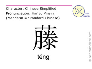 Chinese characters  ( teng / téng ) with pronunciation (English translation: rattan )