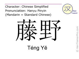 Chinesische Schriftzeichen  ( Teng Ye / Téng Yĕ ) mit Aussprache (Deutsche Bedeutung: Teng Ye )