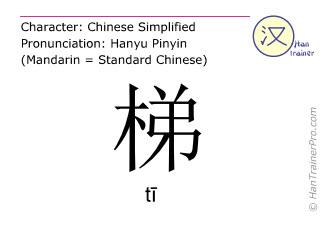 Chinesische Schriftzeichen  ( ti / tī ) mit Aussprache (Deutsche Bedeutung: Leiter )