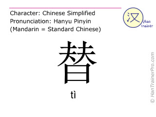Chinese characters  ( ti / tì ) with pronunciation (English translation: to replace )