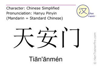 汉字  ( Tian'anmen / Tiān'ānmén ) 包括发音 (英文翻译: Tiananmen )