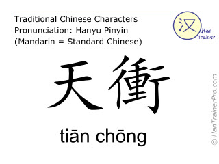 Chinese characters  ( tian chong / tiān chōng ) with pronunciation (English translation: Gall Bladder 9 )