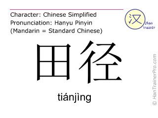 汉字  ( tianjing / tiánjìng ) 包括发音 (英文翻译: athletics )