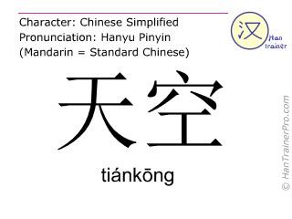 Caractère chinois  ( tiankong / tiánkōng ) avec prononciation (traduction française: ciel )