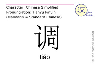 Chinese characters  ( tiao / tiáo ) with pronunciation (English translation: to adjust )