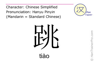 Chinese characters  ( tiao / tiào ) with pronunciation (English translation: to jump )