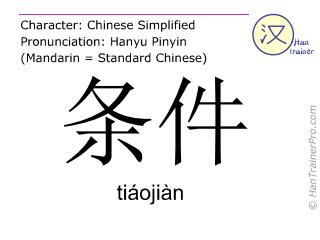 Chinesische Schriftzeichen  ( tiaojian / tiáojiàn ) mit Aussprache (Deutsche Bedeutung: Kondition )