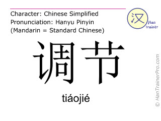 Chinesische Schriftzeichen  ( tiaojie / tiáojié ) mit Aussprache (Deutsche Bedeutung: anpassen )