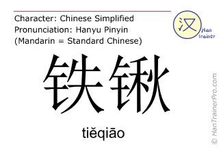 Caracteres chinos  ( tieqiao / tiĕqiāo ) con pronunciación (traducción española: pala )