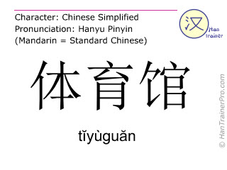 Chinese characters  ( tiyuguan / tĭyùguăn ) with pronunciation (English translation: gymnasium )