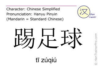 Chinesische Schriftzeichen  ( ti zuqiu / tī zúqiú ) mit Aussprache (Deutsche Bedeutung: Fußball spielen )