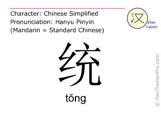 Chinese characters  ( tong / tŏng ) with pronunciation (English translation: <m>together</m> )
