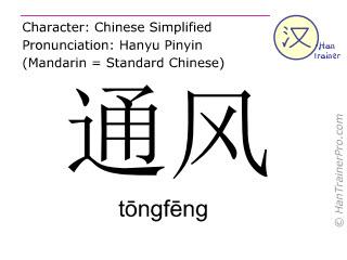Caracteres chinos  ( tongfeng / tōngfēng ) con pronunciación (traducción española: ventilación )