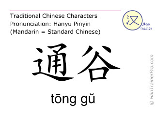 Chinese characters  ( tong gu / tōng gŭ ) with pronunciation (English translation: Bladder 66 )