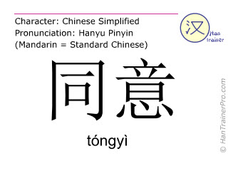 Chinese characters  ( tongyi / tóngyì ) with pronunciation (English translation: to agree )