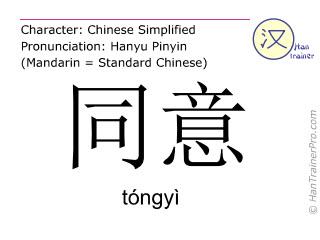 汉字  ( tongyi / tóngyì ) 包括发音 (英文翻译: to agree )