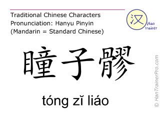 Caracteres chinos  ( tong zi liao / tóng zĭ liáo ) con pronunciación (traducción española: vesícula biliar  1 )