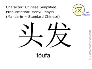Chinese characters  ( toufa / tóufa ) with pronunciation (English translation: hair )
