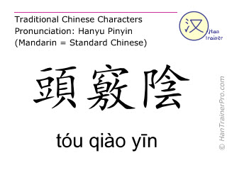 Chinese characters  ( tou qiao yin / tóu qiào yīn ) with pronunciation (English translation: Gall Bladder 11 )