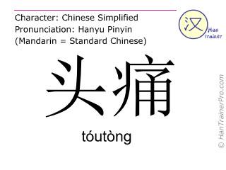Chinesische Schriftzeichen  ( toutong / tóutòng ) mit Aussprache (Deutsche Bedeutung: Kopfweh )