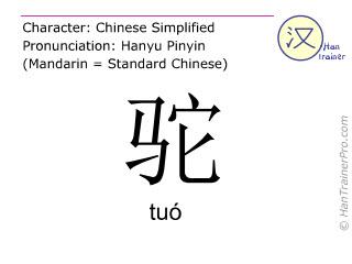 Chinesische Schriftzeichen  ( tuo / tuó ) mit Aussprache (Deutsche Bedeutung: Kamel )