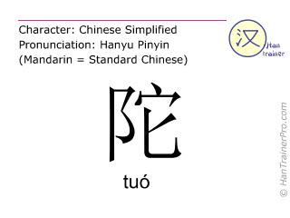 Caractère chinois  ( tuo / tuó ) avec prononciation (traduction française: <m>grumeau</m> )