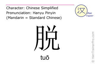 Chinese characters  ( tuo / tuō ) with pronunciation (English translation: to take off )