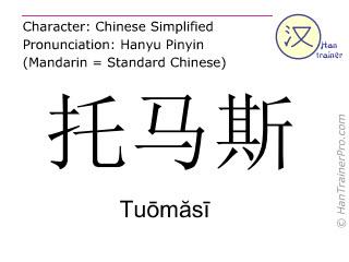 Caractère chinois  ( Tuomasi / Tuōmăsī ) avec prononciation (traduction française: Thomas )