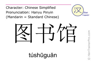 Chinese characters  ( tushuguan / túshūguăn ) with pronunciation (English translation: library )