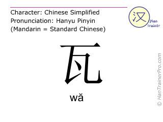 Caractère chinois  ( wa / wă ) avec prononciation (traduction française: </b><i>(pardon, </i>瓦 ( wa / wă ) <i> n'a pas encore été traduit au français. Veuillez essayer la version anglaise)</i><b> )