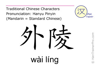 Chinese characters  ( wai ling / wài líng ) with pronunciation (English translation: Stomach 26 )