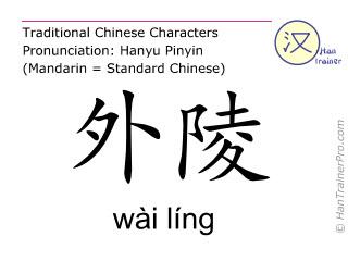 Caracteres chinos  ( wai ling / wài líng ) con pronunciación (traducción española: estómago 26 )