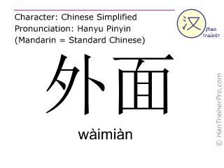 Caracteres chinos  ( waimian / wàimiàn ) con pronunciación (traducción española: </b><i>(Disculpe - todavía no hemos traducido </i>外面 ( waimian / wàimiàn ) <i> al español. Por favor, intente la version inglés)</i><b> )