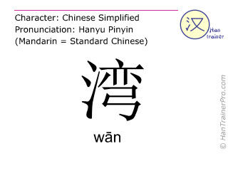 Chinese characters  ( wan / wān ) with pronunciation (English translation: <m>bay</m> )