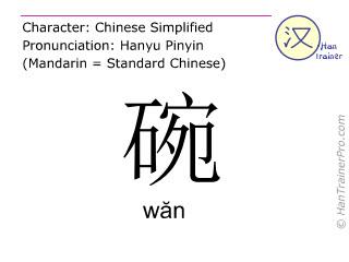 Caractère chinois  ( wan / wăn ) avec prononciation (traduction française: bol )